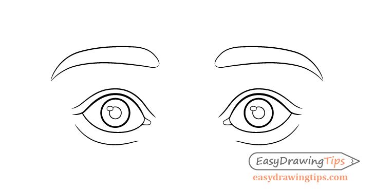 Surprised eyes line drawing
