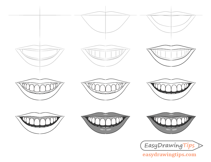 Smile drawing step by step