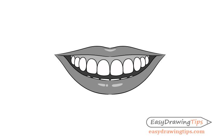 Smile lips shading