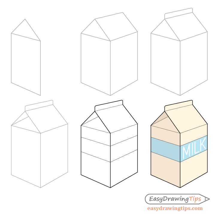 Milk carton drawing step by step